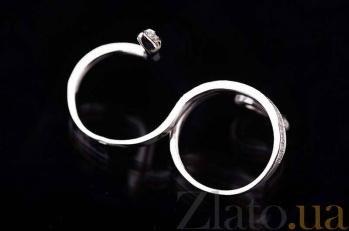 Серебряное кольцо на две фаланги Змейка с белыми и зелеными фианитами 000080122