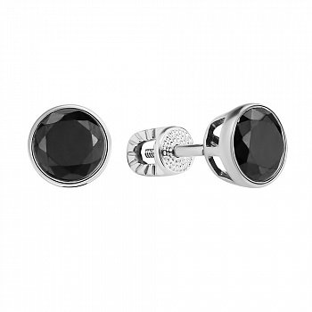 Срібні сережки-пусети із завальцьованими чорними фіанітами 000106896