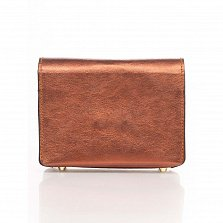 Кожаный клатч Genuine Leather 1812 кирпичного цвета с декоративной пряжкой и плечевым ремнем