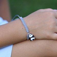 Детский плетеный браслет Веселая панда с эмалью и фианитом, 10-20см