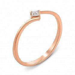 Золотое кольцо в комбинированном цвете с бриллиантом 000135798