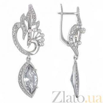 Серебряные серьги Жар Птица TNG--420735С