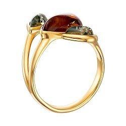 Серебряное кольцо с янтарем и позолотой 000137654