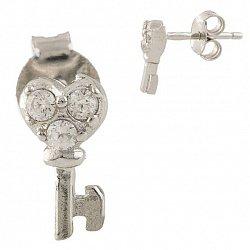 Серебряные серьги-пуссеты Ключики с фианитами