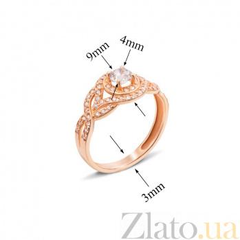 Золотое кольцо Влада с белым цирконием 12163 с