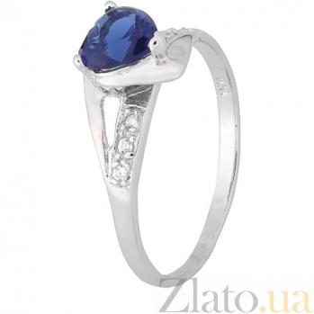Серебряное кольцо с синим цирконием Страстная любовь 000028162