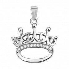 Серебряная подвеска Атрибут власти в виде короны с белыми фианитами