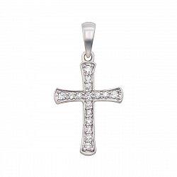 Золотой крестик в белом цвете с бриллиантами 000124399