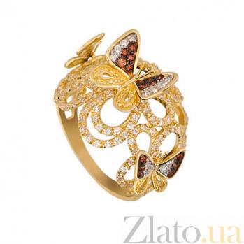 Кольцо из желтого золота Майская ночь с фианитами VLT--ТТТ1143