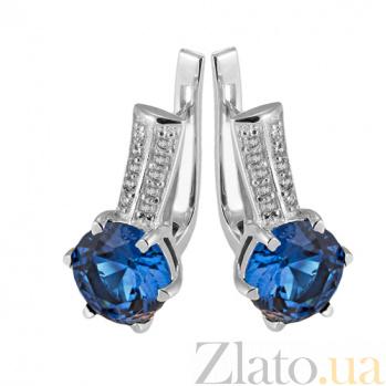 Серебряные серьги с синим цирконием Снежана Снежана с/син