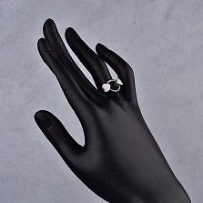 Серебряное кольцо Легенда с черной керамикой и фианитами
