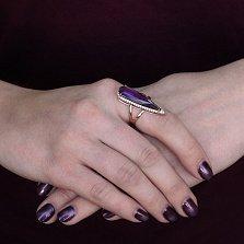 Золотое кольцо Галадриэль с аметистом и фианитами