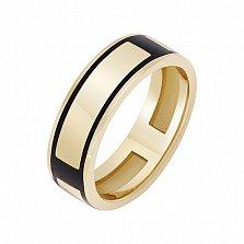 Перстень в желтом золоте Атлантика с эмалью