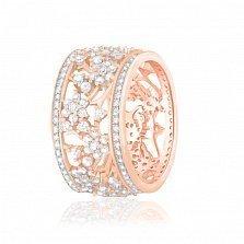 Серебряное кольцо Сильвина с фианитами и позолотой в стиле Тиффани