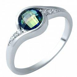Серебряное кольцо Лозанна с топазом мистик и фианитами