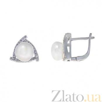 Серьги серебро с белым жемчугом Вера AQA--E00659PW