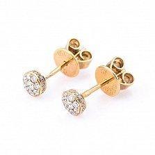 Золотые серьги-пуссеты Аморет с бриллиантами