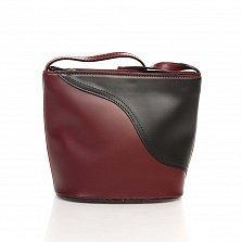 Кожаный клатч Genuine Leather 1802 бордового и черного цвета с плечевым ремнем