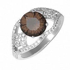 Серебряное кольцо Мадлен с раухтопазом и фианитами
