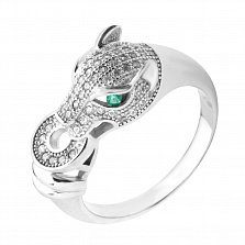Серебряное кольцо Дикая кошка с белыми и зелеными фианитами в стиле Картье