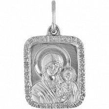 Золотая ладанка Богородица Казанская в белом цвете металла