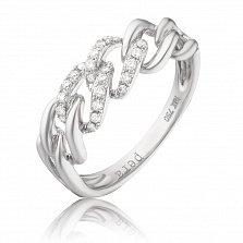 Золотое кольцо Цепь в белом цвете со звеньями инкрустированными бриллиантами