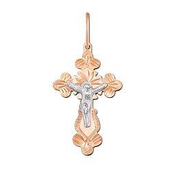 Золотой крестик Высшая любовь в комбинированном цвете с алмазной гранью