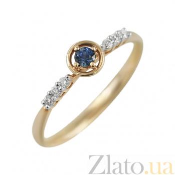 Золотое кольцо с сапфиром и бриллиантами Истина 000026520