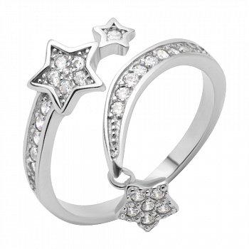 Серебряное разомкнутое кольцо с подвеской и фианитами 000118413