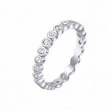 Серебряное кольцо на фалангу Одри с фианитами