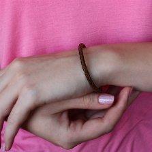 Коричневый кожаный браслет Тирон с серебряным замком, 4мм