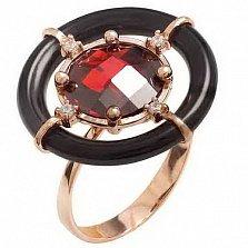 Золотое кольцо Мумбаи с агатом и фианитами