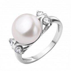 Серебряное кольцо с жемчугом и фианитами 000118263