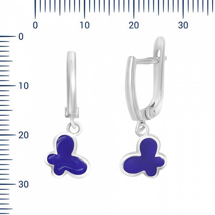 Серебряные серьги-подвески Полет мотылька с фиолетовой эмалью 000081849