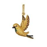 Золотая подвеска с цветными фианитами Птичка