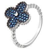 Серебряное кольцо Синее счастье с фианитами