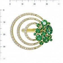 Кольцо из желтого золота Вивиен с зелеными топазами и белыми фианитами