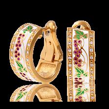 Золотые серьги Калина с рубинами, бриллиантами и эмалью