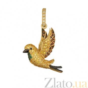 Золотая подвеска с цветными фианитами Птичка VLT--ТТ3405-1