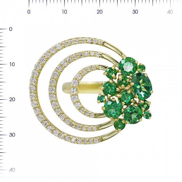 Кольцо из желтого золота Вивиен с зелеными топазами и белыми фианитами 000081333