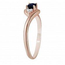 Кольцо из красного золота Олеся с бриллиантами и сапфиром