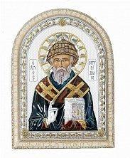 Икона на деревянной основе Святой Спиридон с цветной эмалью и позолотой, 21х17