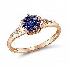 Кольцо из красного золота с сапфирами и бриллиантами Жаклин