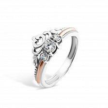 Серебряное кольцо Диадема с золотой накладкой и фианитами