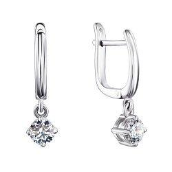 Серебряные серьги-подвески с фианитами 000145938
