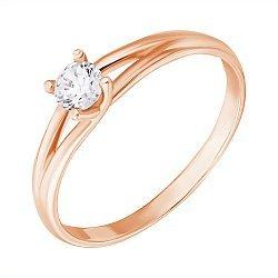 Золотое кольцо с раздваивающейся шинкой Моя Вселенная с белым фианитом