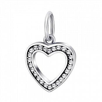 Срібний підвіс-шарм з фіанітами 000043249