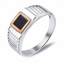 Серебряный перстень-печатка Джонатан с золотом и обсидианом