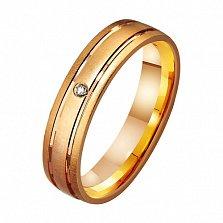 Золотое обручальное кольцо Счастливый путь с фианитом