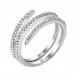 Серебряное кольцо с двойной шинкой и дорожками фианитов 000121408